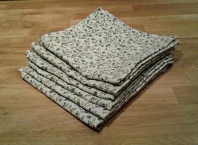 6 serviettes en lin fleuri Mylène