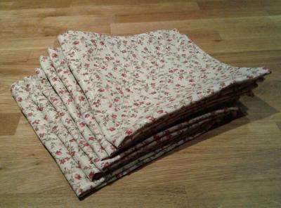 6 serviettes en lin fleuri Mila