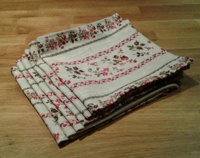 6 serviettes en lin fleuri Brome