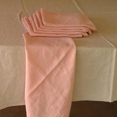 6 Serviettes de table lin lavé Rose