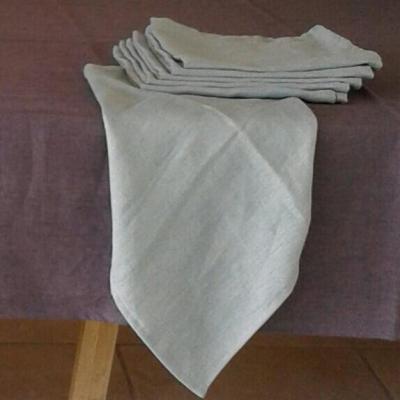 6 Serviettes de table lin lavé Gris clair