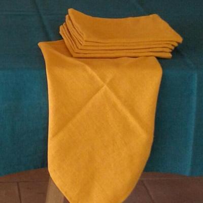 6 Serviettes de table lin lavé Gold